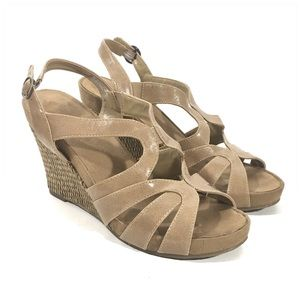 Aerology Shoes - Aerology Plush Right Tan Wedge Sandals Size 8